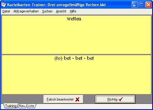Screenshot Karteikarten Trainer
