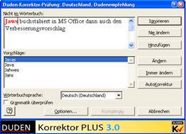 Screenshot Duden Korrektor