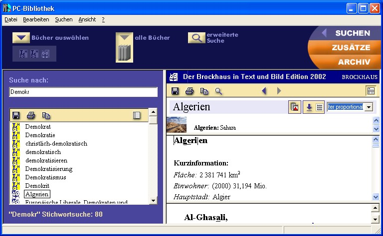 Screenshot PC-Bibliothek 3.0